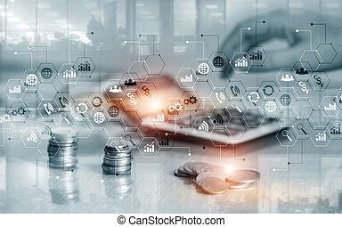 לוח, להחליף, שלוט, אחסן, חשיפה, ממן, עסק, כפיל, אסטרטגיה, marketing., מושג