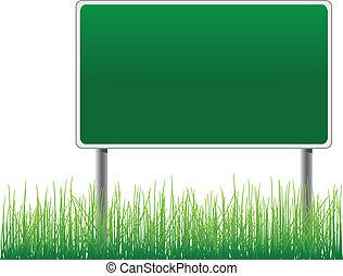 לוח מודעות, מתחת, דשא, ריק, vector.