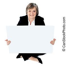 לוח מודעות, של איגוד מקצועי, גברת, להחזיק