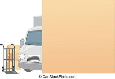 לזוז, קופסות, משאית, עלה, דוגמה