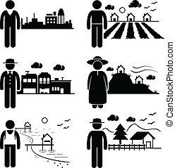 לחיות, שונה, מקומות, אנשים