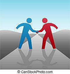 לחיצת יד, אנשים של עסק, ביחד, מתקדם, שותף