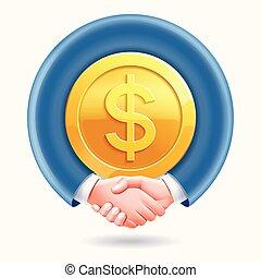 לחיצת יד, שותפות, מסביב, אנשים של עסק, מטבעות, דולר, רקע., קונצפטואלי, זהב, design.