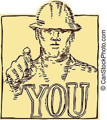 לחרוט, בניה, להצביע, עובד, אתה