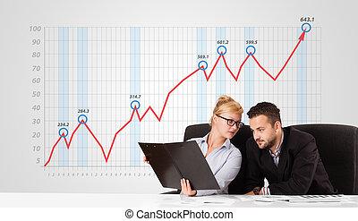 לחשב, גרף, צעיר, לעלות, רקע, אישת עסקים, איש עסקים, שווק, אחסן