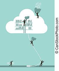 לחשב, ענן, מושג, עסק