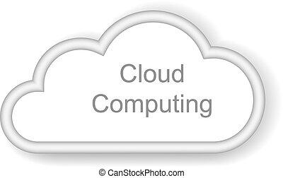 לחשב, ענן, רקע, מושג, לבן