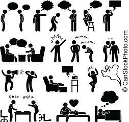 לחשוב, לדבר, איש, לצחוק, אנשים