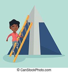 לטפס, אישה, mountain., עסק, אפריקני