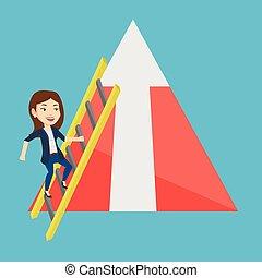 לטפס, אישה, mountain., עסק