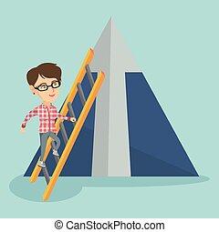 לטפס, אישה, mountain., קוקאייזיאני, עסק