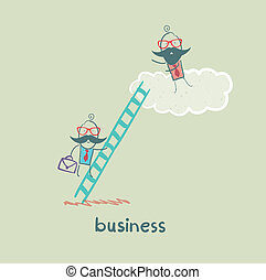 לטפס, איש עסקים, מדרגות, ענן, בוס