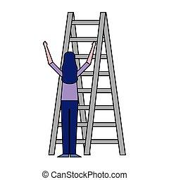 לטפס, לבן, אישה, מדרגות, רקע