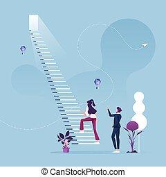 לטפס, מדרגה, success-business, מושג, אישת עסקים, קריירה, התחיל