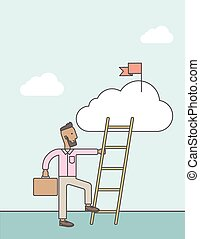 לטפס, ladder., איש