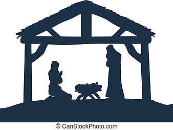 לידה, צלליות, נוצרי, קטע של חג ההמולד