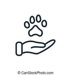 ליניארי, קו, וקטור, pictogram., editable, בן אנוש, נדיבות לב, תרומה, סוכך, concept., חיות בית, בעל חיים דואג, הגנה, דוגמה, stroke., העבר, icon., רווחה, טלף, אימוץ