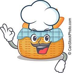 ללבוש, אופי, לבן, ציור היתולי, חמוד, כובע, סל, טבח, bread