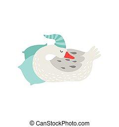 ללבוש, חמוד, אופי, דוגמה, לישון, אווז, וקטור, כובע לבן, ציור היתולי