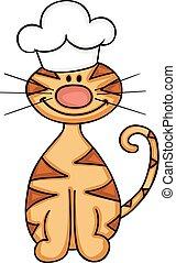 ללבוש, חמוד, כובע של טבח, חתול