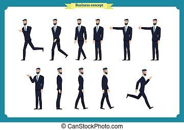 ללכת, אופי, businessman., movements., like., קבע, רוץ, סיגנון, מיגוון, לך, איש, אוסף, ציור היתולי, לרוץ, פעיל, שנא, דירה