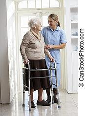 ללכת, אישה, מכוניות, הסגר, מזדקן, לעזור, להשתמש, בכור