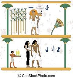 לנוח, עתיק, משפחה, לצוד, אנשים, מצרים, רקע., חזור, היסטורי, שלנו, prey., home., איש