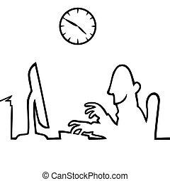 לעבוד, אחרי, מחשב, 5, 9, איש