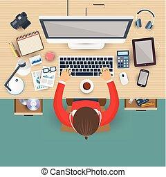 לעבוד, משרד של עסק, מחשב נייד, מקום עבודה, איש
