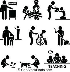 לעזור, תרומה, נדיבות לב, התנדב