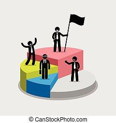 לעמוד, הציין, עוגה, chart., מנה, כל אחד, איש עסקים