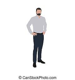 לעמוד, חולצה, דוגמה של עסק, וקטור, ידיים, איש, hips.
