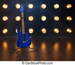 לעמוד, חשמלי, רצפה, מעץ, concept., גיטרה, מוסיקה