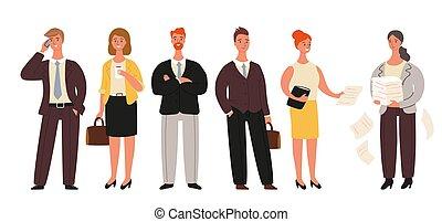לעמוד, קבץ, משרד, אנשים של עסק, קבע, עובדים, -, הפרד, דוגמה, נשי עסקים, רקע., וקטור, אוסף, לבן, ציור היתולי, אנשי עסקים