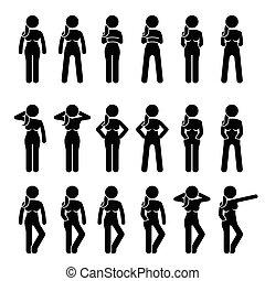לעמוד, poses., אישה, מעמדי גוף, יסודי