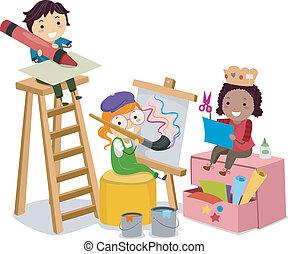 לעשות, אומנויות, ילדים, stickman, רכבים