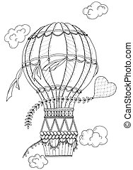 לצבוע, heart., מבוגרים, שרבט, balloon, המרץ, הבלט, הזמן, שחור, zentangle, תבנית, לבן, אוירוסטט, kids.