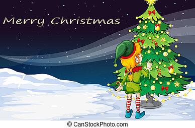 לצפות, שדון, עץ, כרטיס של חג ההמולד