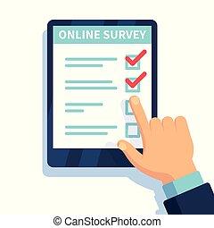 לקוחות, קדור, שאלון, נייד, ידיים, אונליין, form., וקטור, להחזיק, אינטרנט, בחון, להצביע, למדוד, survey.