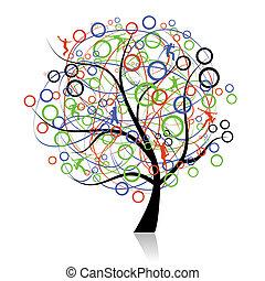 לקשר, אנשים, עץ, רשת