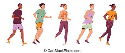 לרוץ, אנשים, קבץ, צעיר, רקע, לבן
