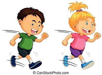 לרוץ, ילדים, רקע לבן