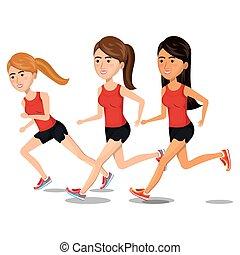 לרוץ, נשים, אותיות, איקון