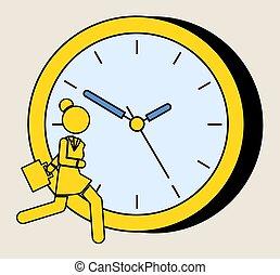 לרוץ, צהוב, הסתכל, dial., גדול, אישה, מהר, ילדה, צללית, מאוחר, רקע