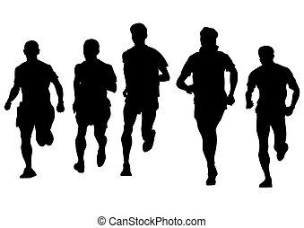 לרוץ, רקע לבן, אנשים