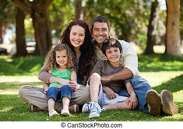 לשבת, משפחה, גן, שמח