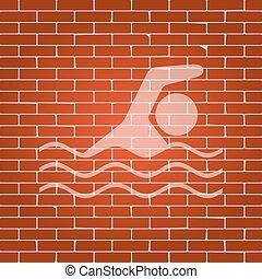 לשחות, whitish, קיר, חתום., השקה, רקע., vector., לבנה, ספורט, איקון