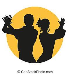 לשחק, צהוב, הסתובב, ספרדי, קשר, רקע, צלליות, clapping., פלאמאנכו, לבן, רקדנים