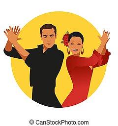 לשחק, צהוב, הסתובב, ספרדי, קשר, רקע, clapping., פלאמאנכו, לבן, רקדנים