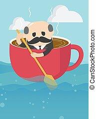 לשיט, קדימה, כוס של קפה, מזדקן, איש עסקים, שלו, עייף, ביטוי, באופן מוגזם עובד